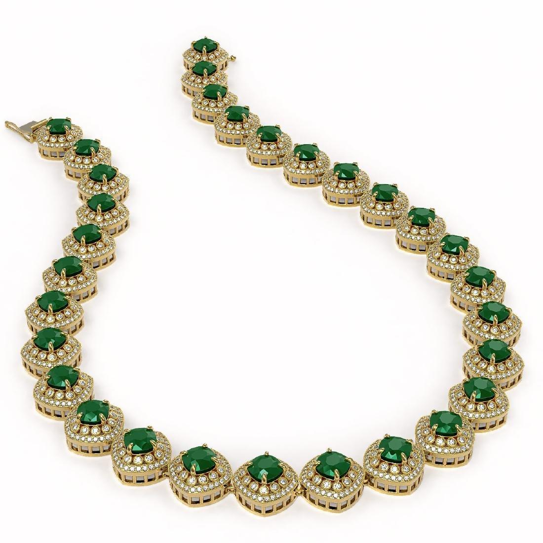 82.17 ctw Emerald & Diamond Necklace 14K Yellow Gold - - 2