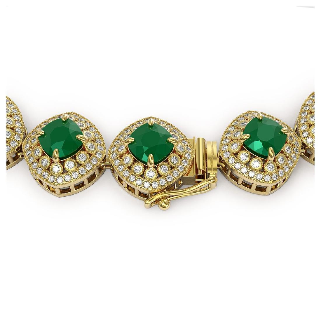 82.17 ctw Emerald & Diamond Necklace 14K Yellow Gold - - 3