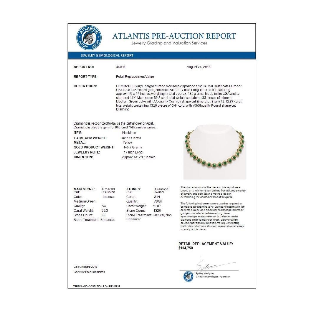 82.17 ctw Emerald & Diamond Necklace 14K Yellow Gold - - 4