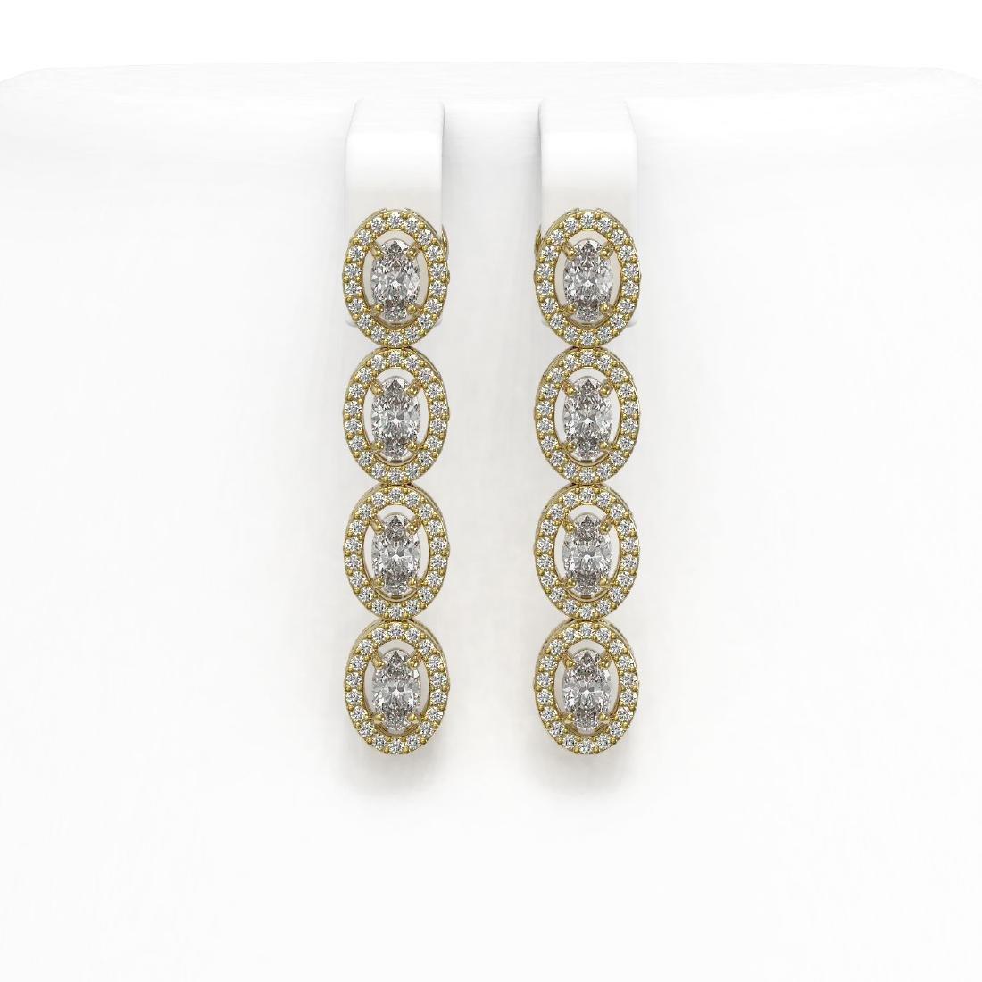 4.52 ctw Oval Diamond Earrings 18K Yellow Gold -