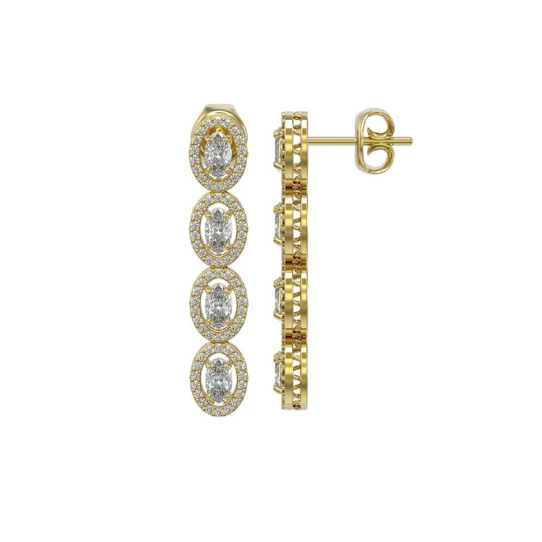 4.52 ctw Oval Diamond Earrings 18K Yellow Gold - - 2