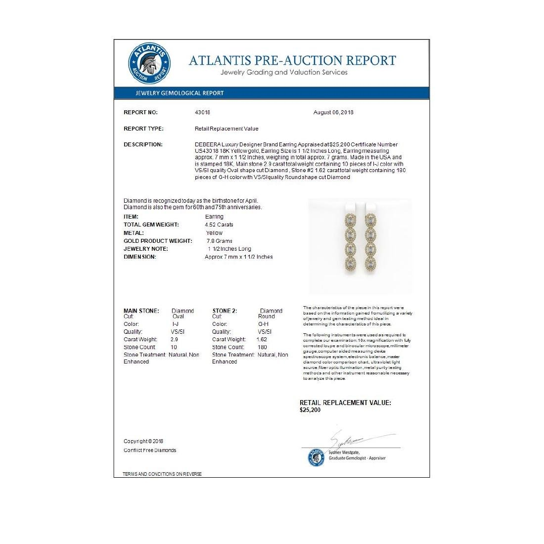 4.52 ctw Oval Diamond Earrings 18K Yellow Gold - - 4