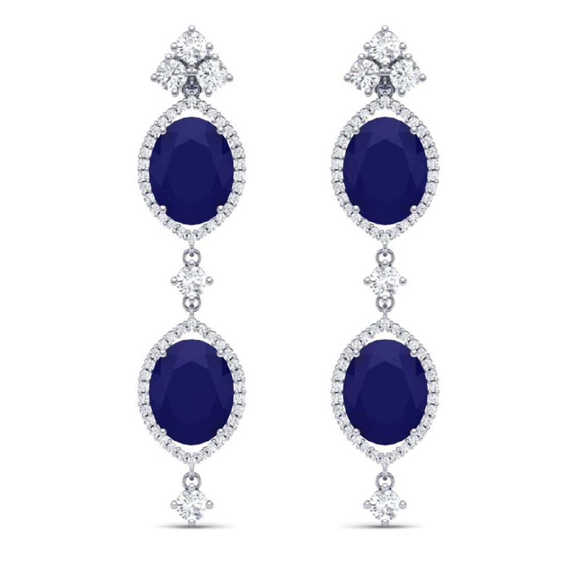 15.81 ctw Sapphire & VS Diamond Earrings 18K White Gold