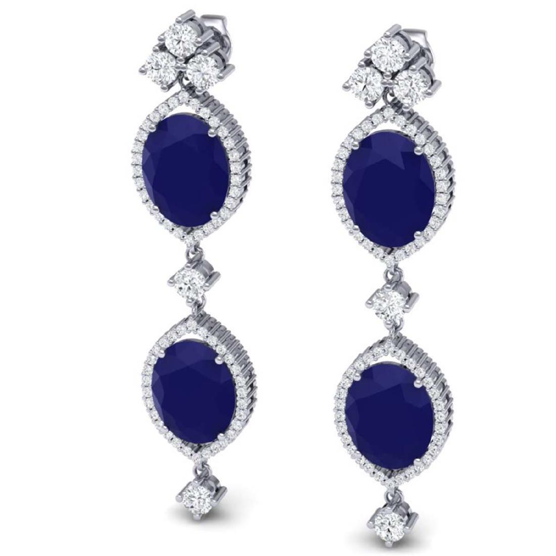 15.81 ctw Sapphire & VS Diamond Earrings 18K White Gold - 2