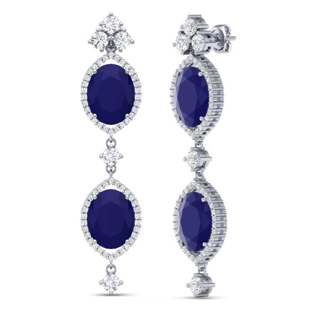 15.81 ctw Sapphire & VS Diamond Earrings 18K White Gold - 3