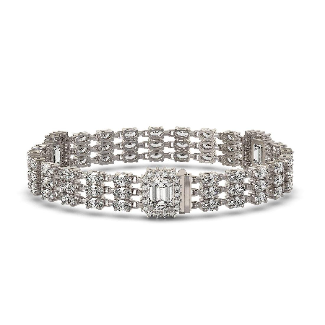 18.96 ctw Emerald Cut & Oval Diamond Bracelet 18K White