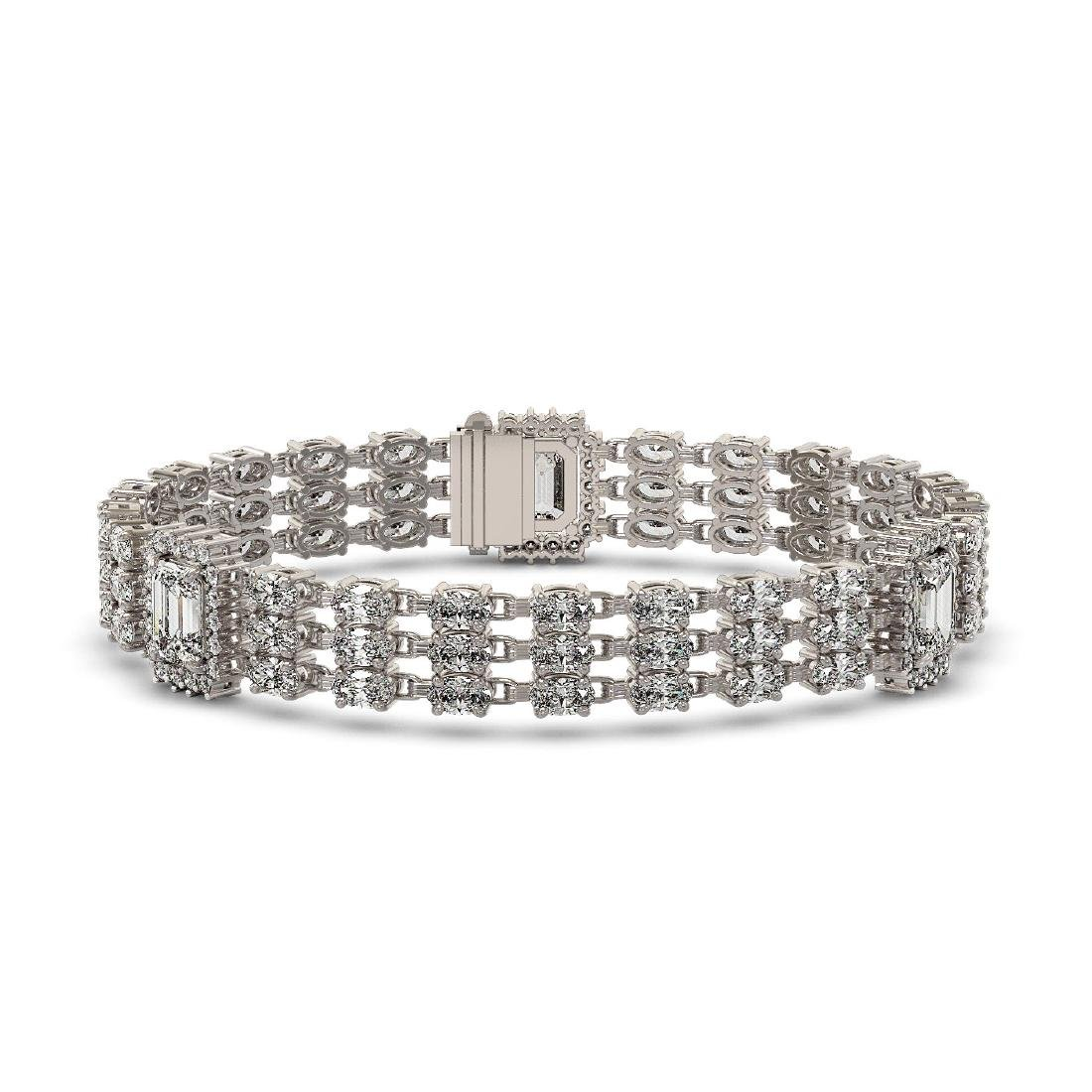 18.96 ctw Emerald Cut & Oval Diamond Bracelet 18K White - 2
