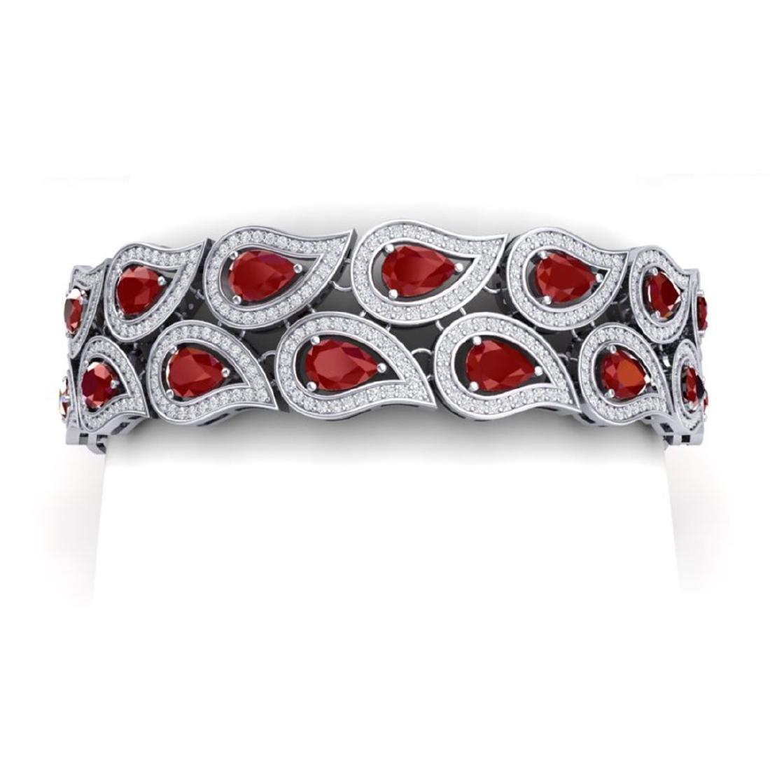 20.1 ctw Ruby & VS Diamond Bracelet 18K White Gold -