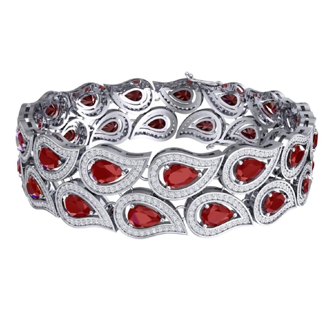 20.1 ctw Ruby & VS Diamond Bracelet 18K White Gold - - 3