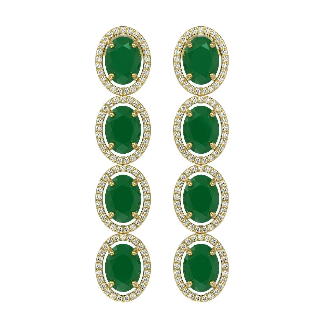 15.68 ctw Emerald & Diamond Halo Earrings 10K Yellow