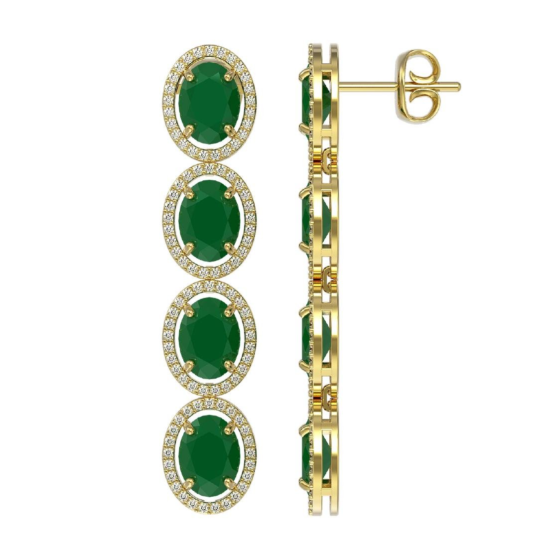 15.68 ctw Emerald & Diamond Halo Earrings 10K Yellow - 2