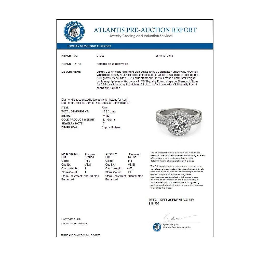 1.65 ctw VS/SI Diamond Halo Ring 18K White Gold - - 4