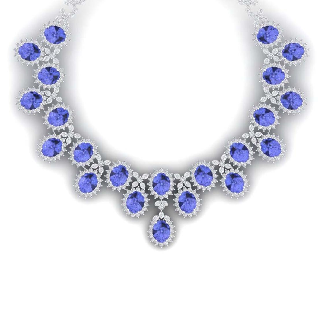 86 ctw Tanzanite & VS Diamond Necklace 18K White Gold -