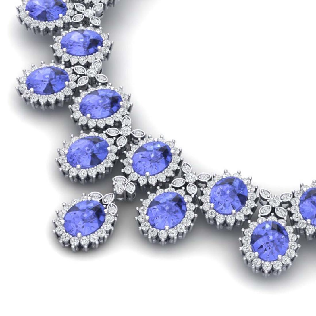 86 ctw Tanzanite & VS Diamond Necklace 18K White Gold - - 2