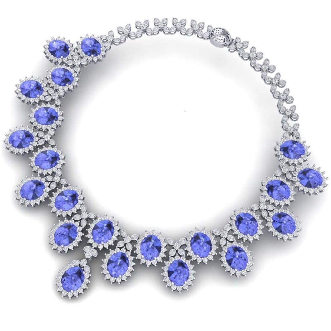 86 ctw Tanzanite & VS Diamond Necklace 18K White Gold - - 3