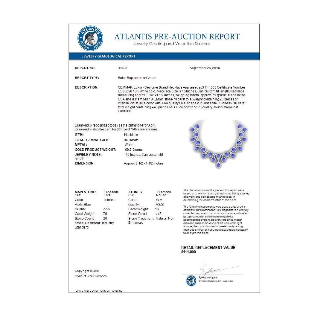 86 ctw Tanzanite & VS Diamond Necklace 18K White Gold - - 4