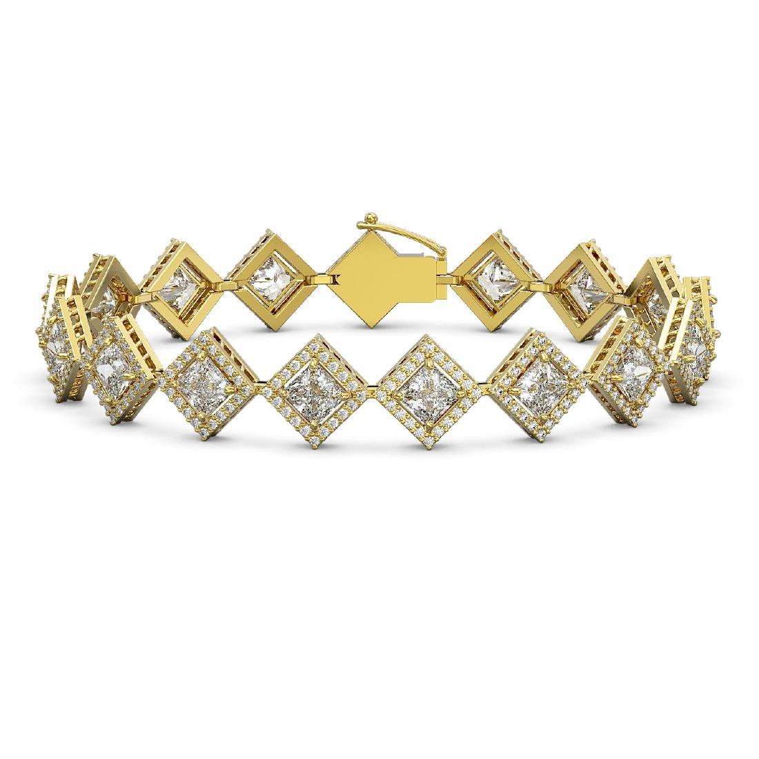 13.5 ctw Princess Diamond Bracelet 18K Yellow Gold -