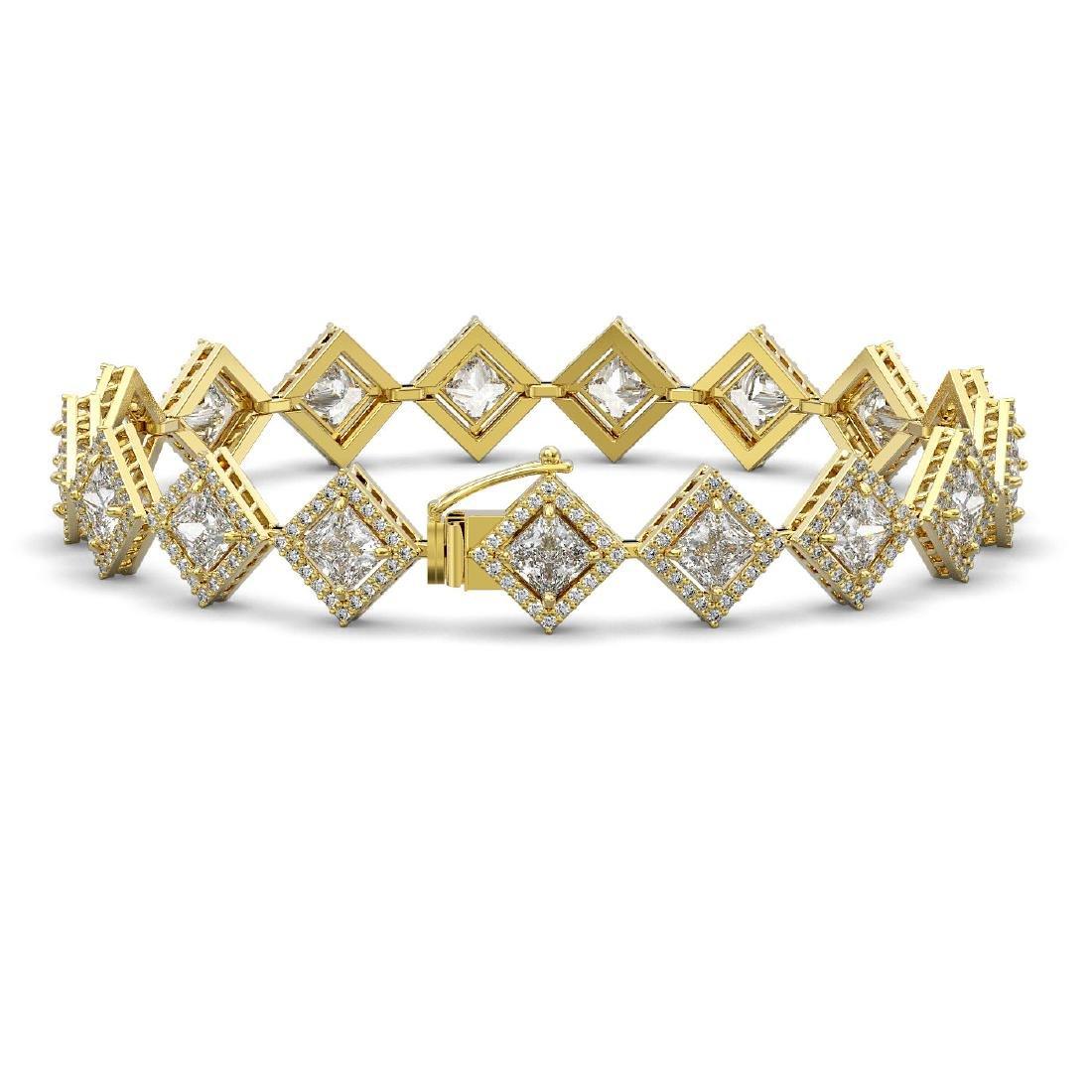 13.5 ctw Princess Diamond Bracelet 18K Yellow Gold - - 2