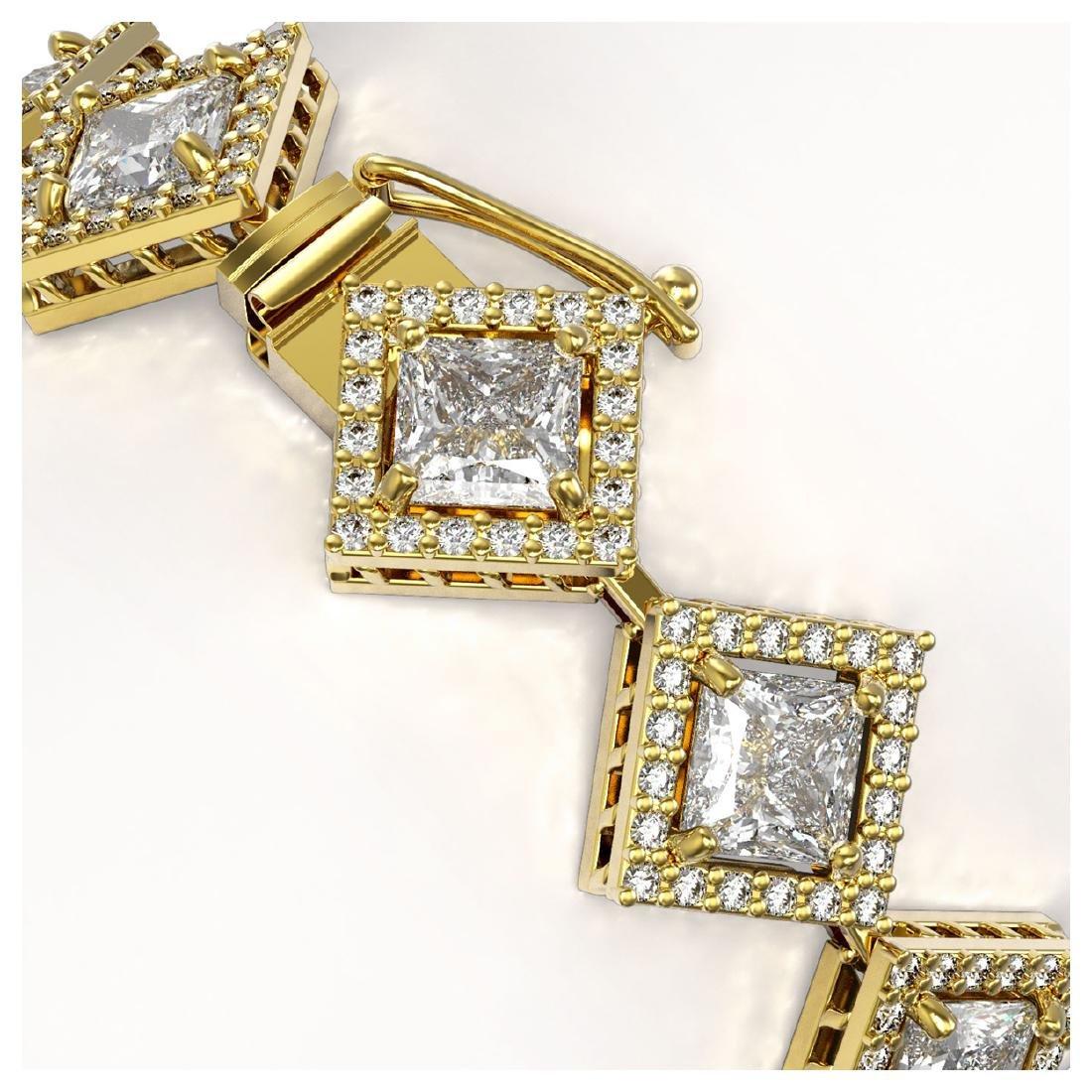 13.5 ctw Princess Diamond Bracelet 18K Yellow Gold - - 3