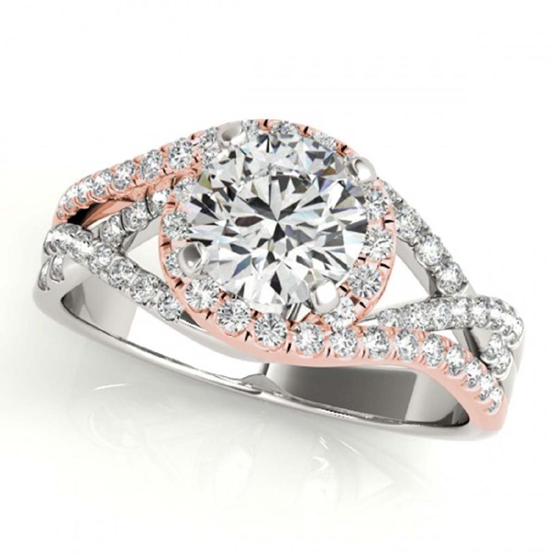 1.50 ctw VS/SI Diamond Solitaire Halo Ring 18K White &