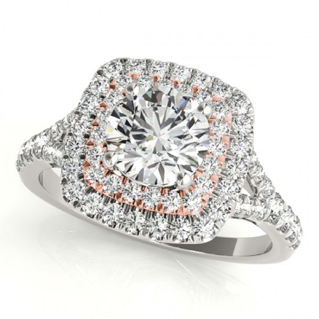 1.60 ctw VS/SI Diamond Solitaire Halo Ring 18K White &