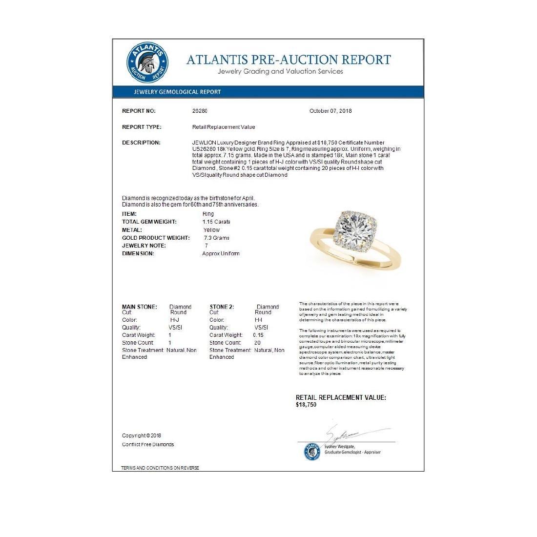 1.15 ctw VS/SI Diamond Halo Ring 18K Yellow Gold - - 3