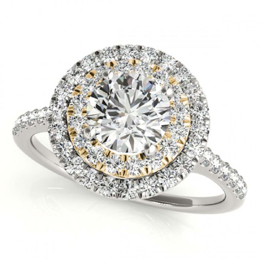 1.25 ctw VS/SI Diamond Solitaire Halo Ring 18K White &