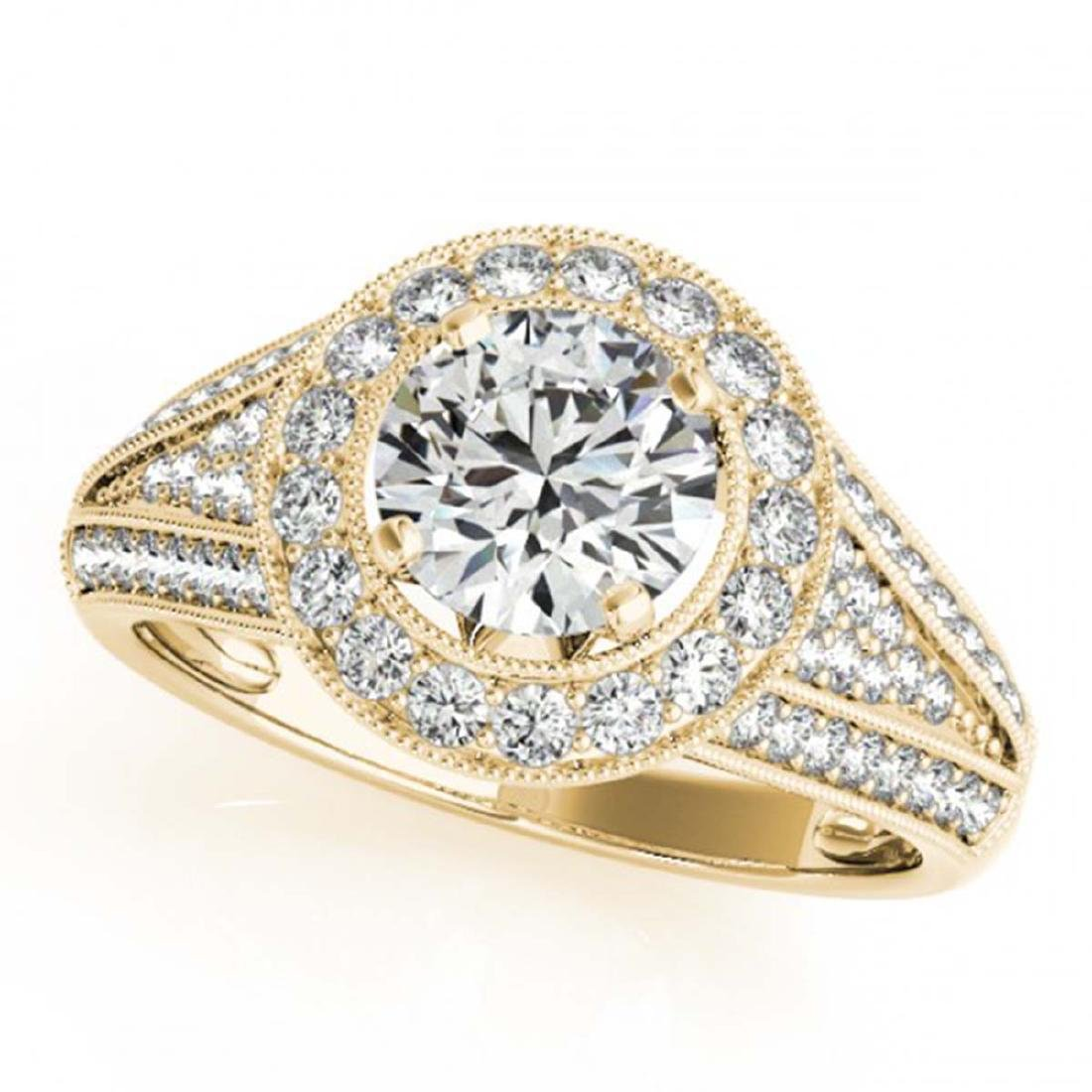 1.70 ctw VS/SI Diamond Halo Ring 18K Yellow Gold -