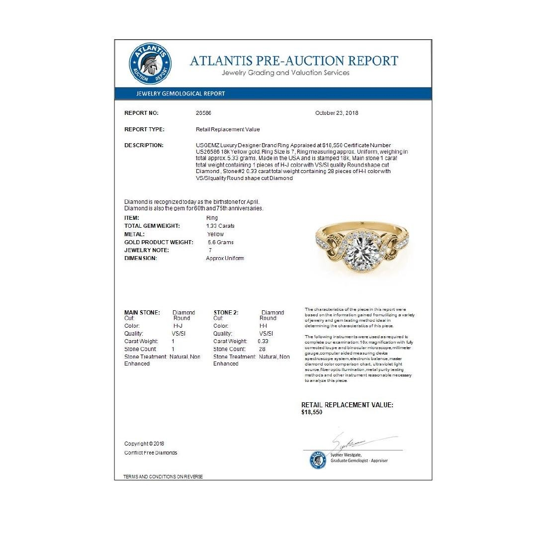 1.33 ctw VS/SI Diamond Halo Ring 18K Yellow Gold - - 4