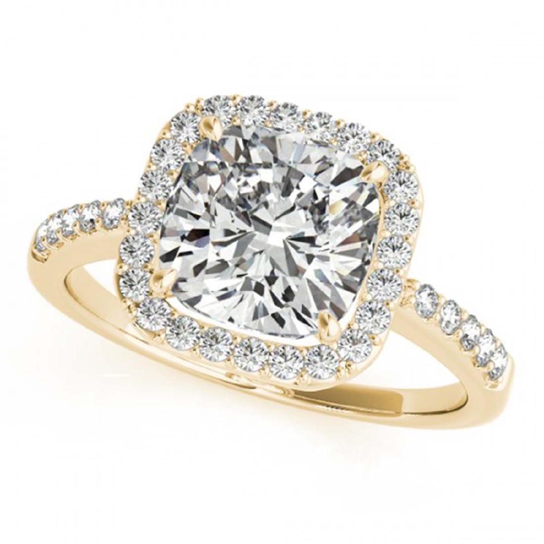 0.60 ctw VS/SI Cushion Diamond Halo Ring 18K Yellow