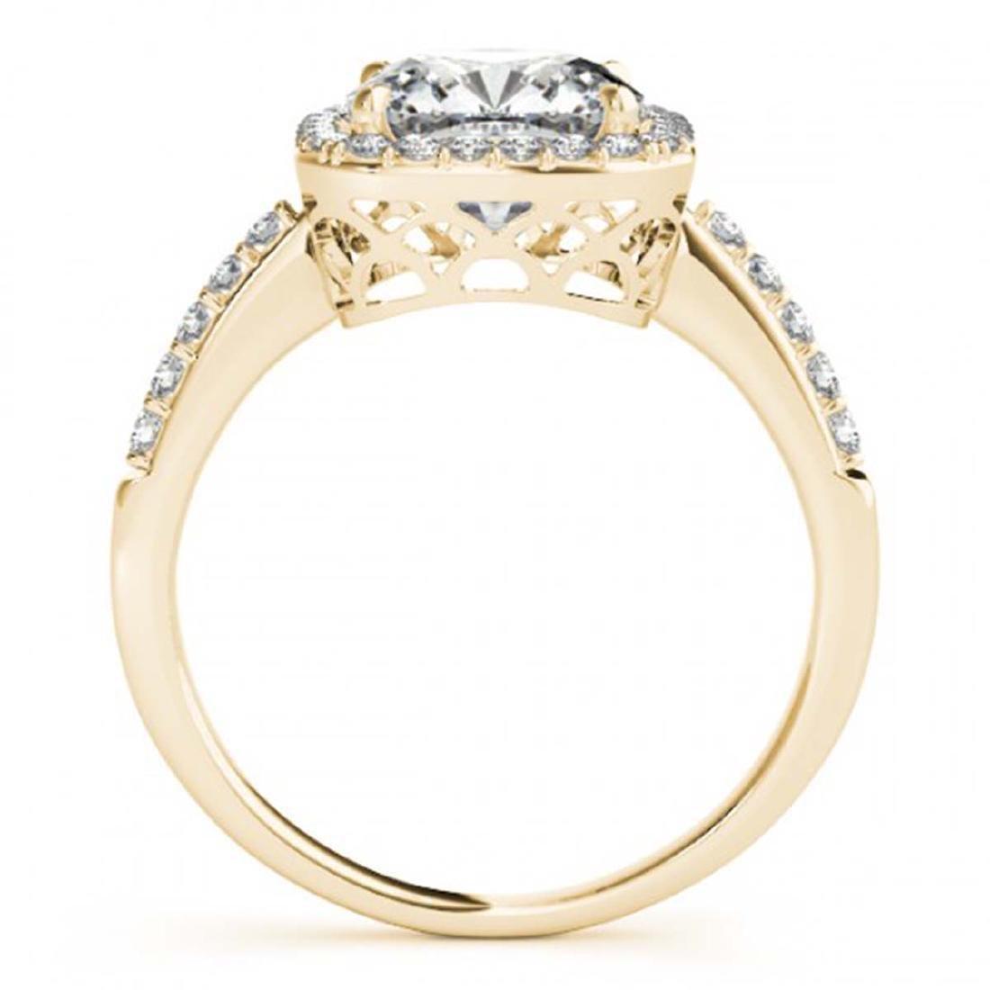 0.60 ctw VS/SI Cushion Diamond Halo Ring 18K Yellow - 2