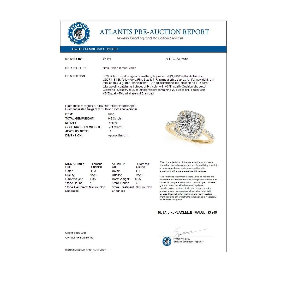 0.60 ctw VS/SI Cushion Diamond Halo Ring 18K Yellow - 3