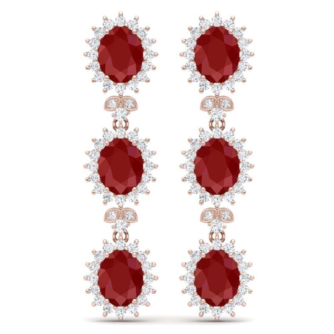 24.52 ctw Ruby & VS Diamond Earrings 18K Rose Gold -