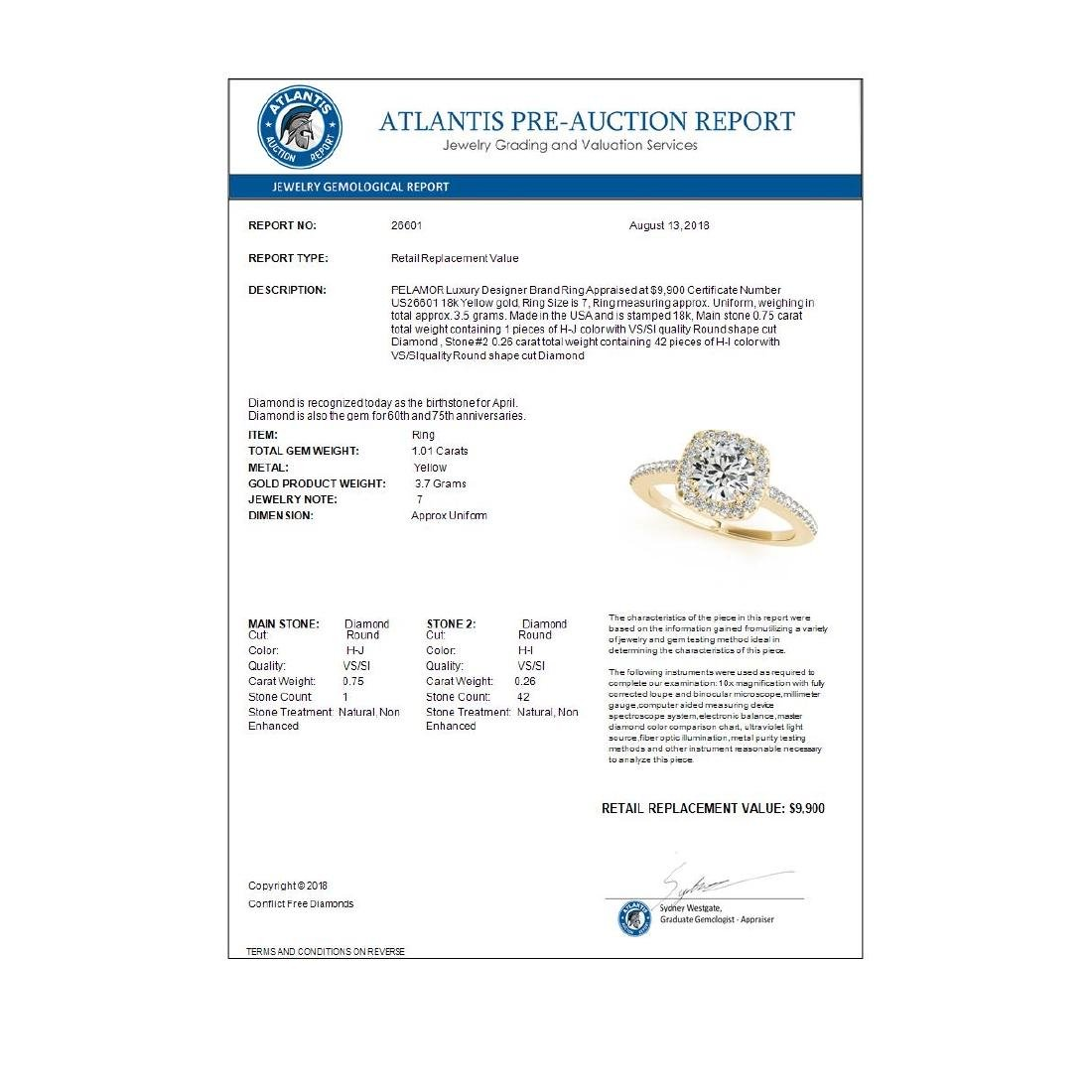 1.01 ctw VS/SI Diamond Halo Ring 18K Yellow Gold - - 3