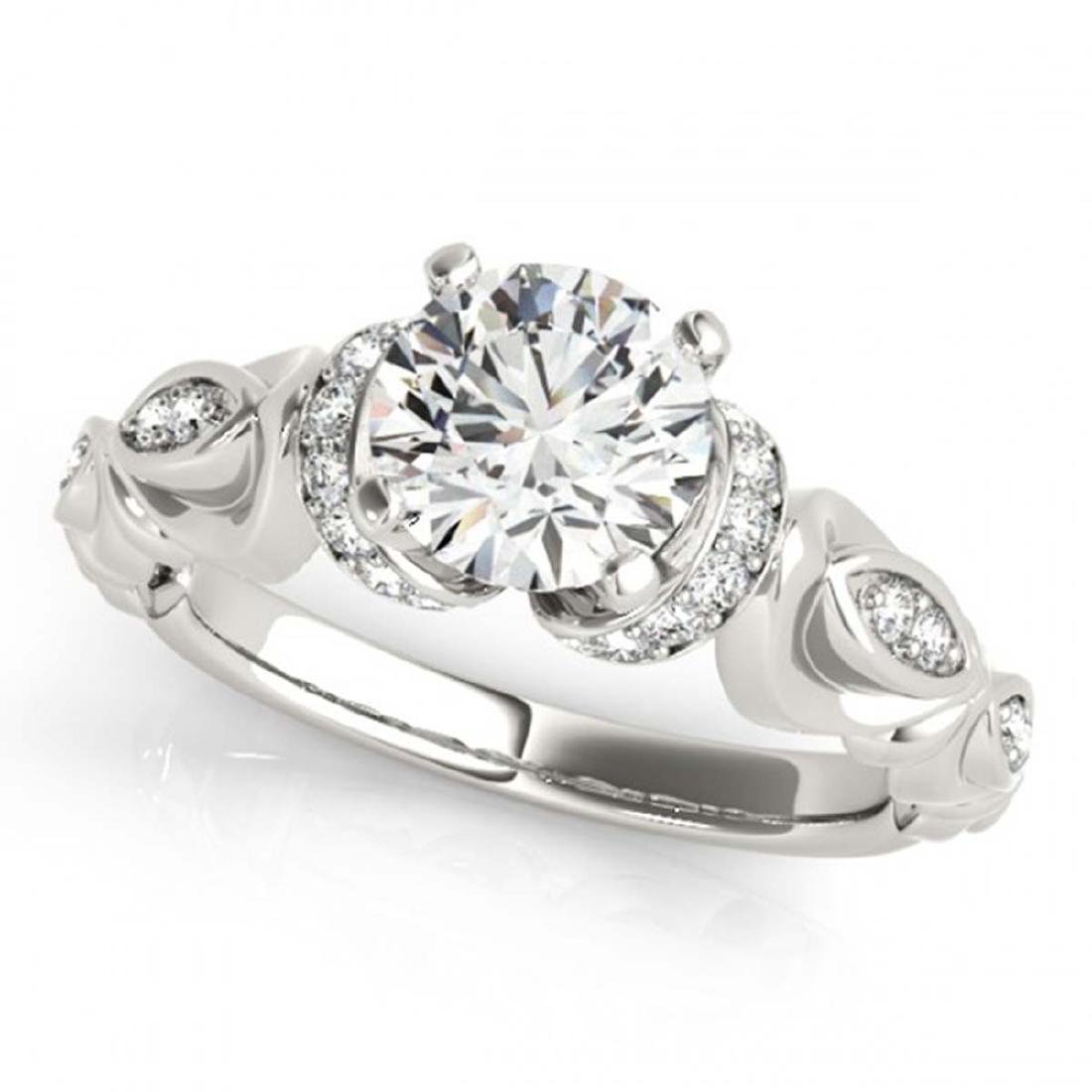 0.95 ctw VS/SI Diamond Ring 18K White Gold - REF-150H5M