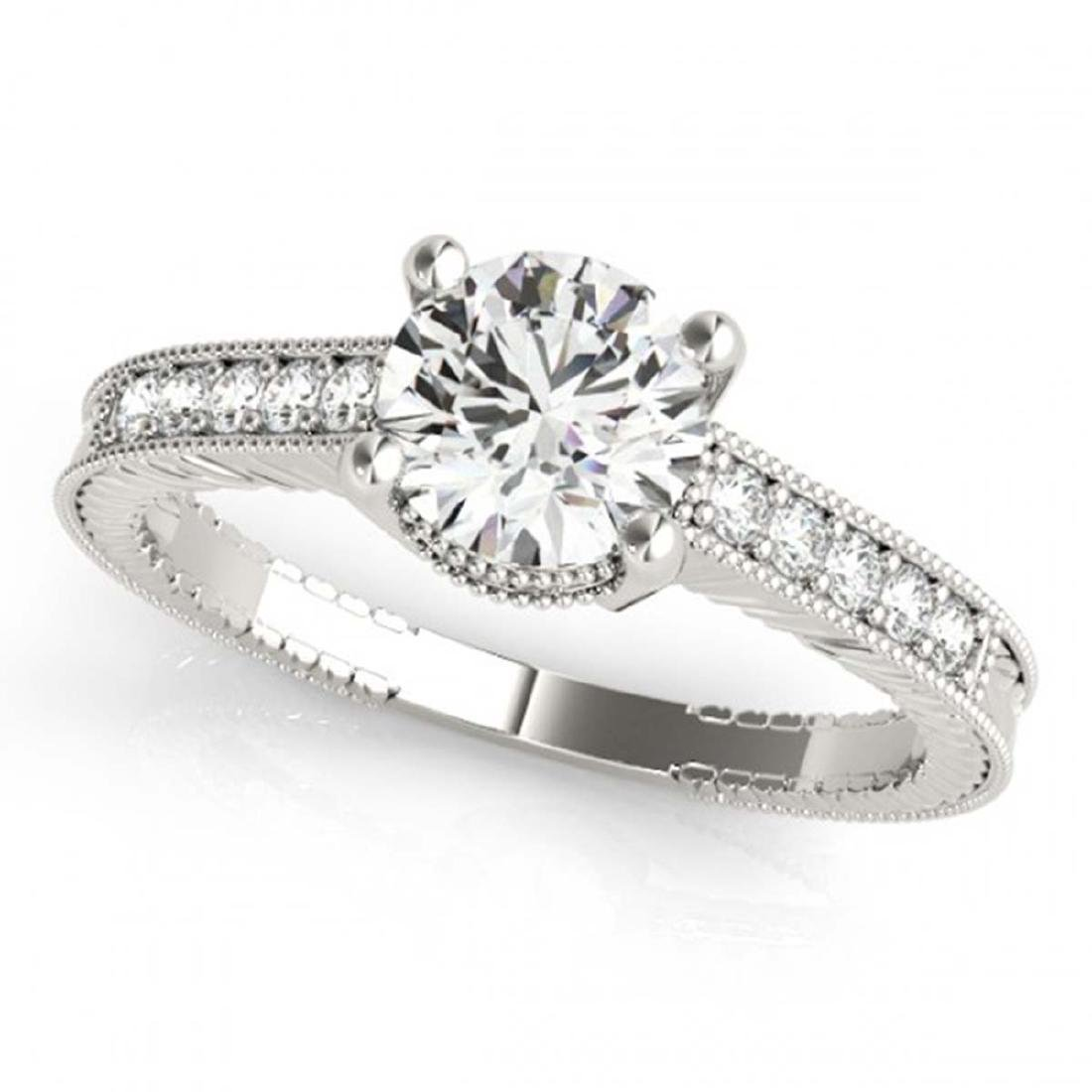 0.70 ctw VS/SI Diamond Ring 18K White Gold - REF-98M9F