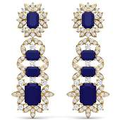3025 ctw Sapphire  VS Diamond Earrings 18K Yellow