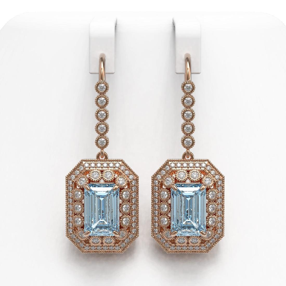 11.32 ctw Aquamarine & Diamond Earrings 14K Rose Gold -