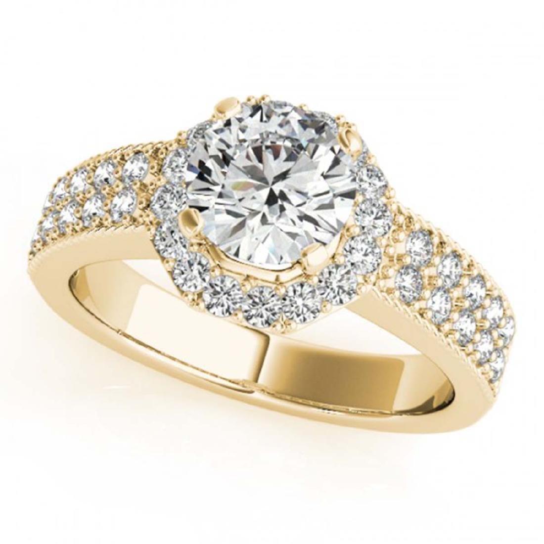 0.90 ctw VS/SI Diamond Halo Ring 18K Yellow Gold -