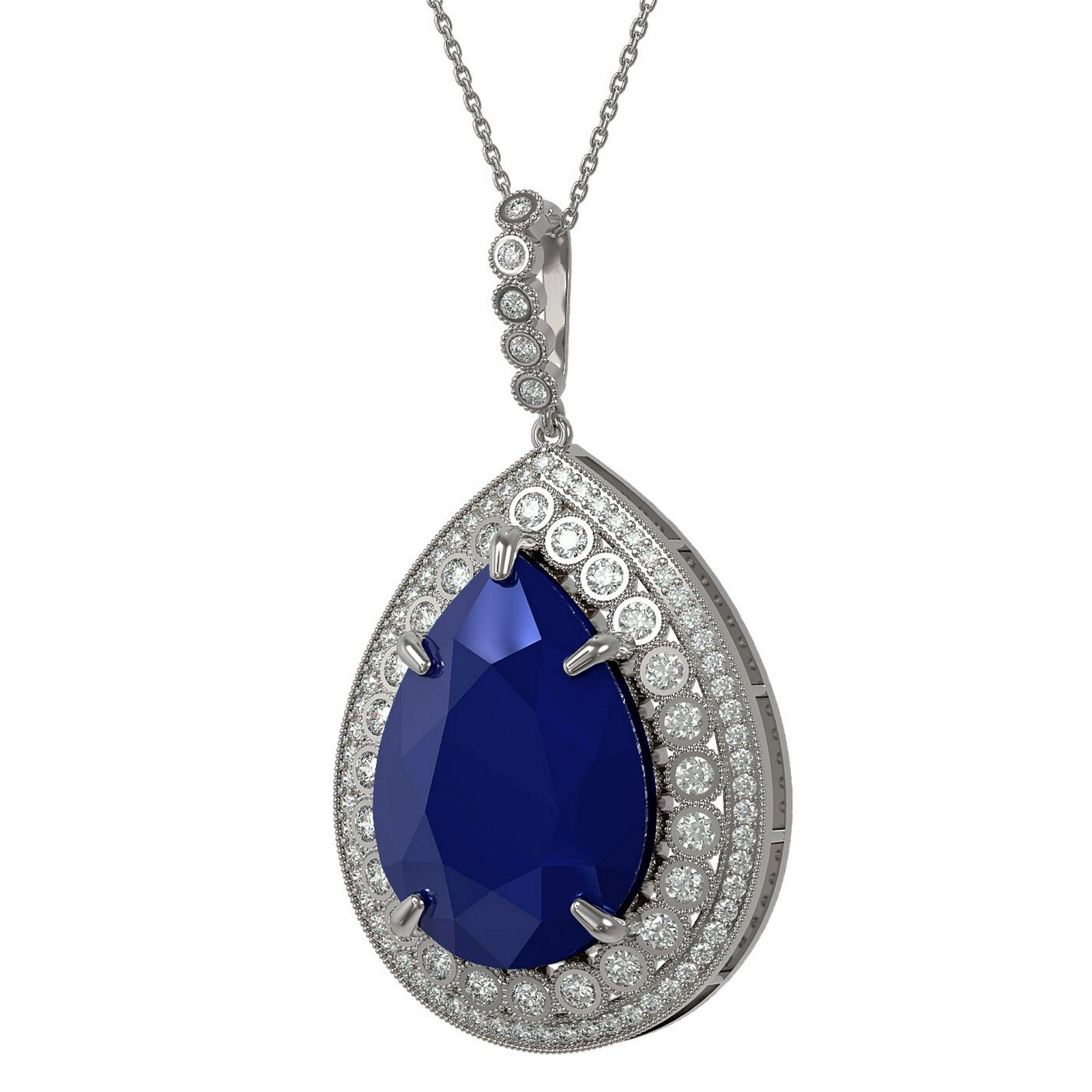 42.84 ctw Sapphire & Diamond Necklace 14K White Gold -