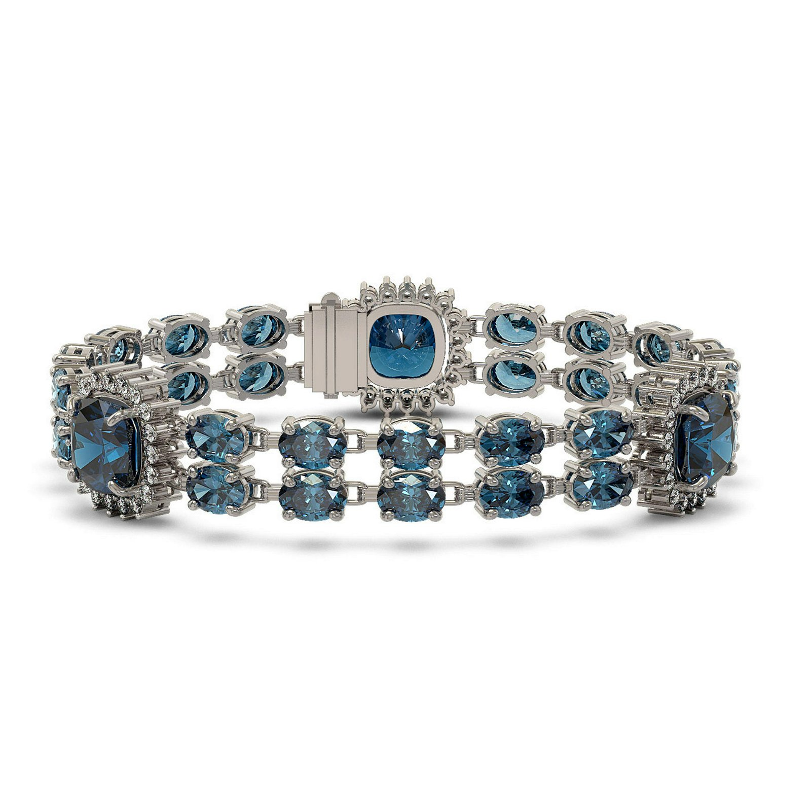 41.17 ctw London Topaz & Diamond Bracelet 14K White