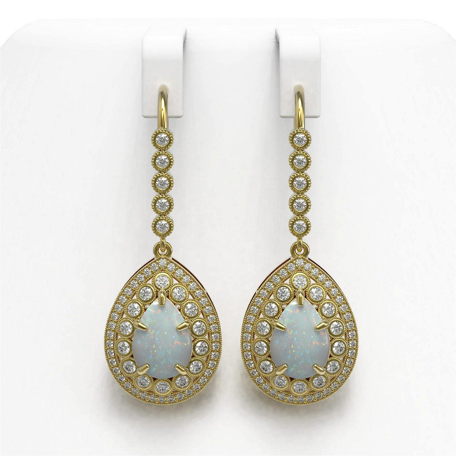 8.29 ctw Opal & Diamond Earrings 14K Yellow Gold -