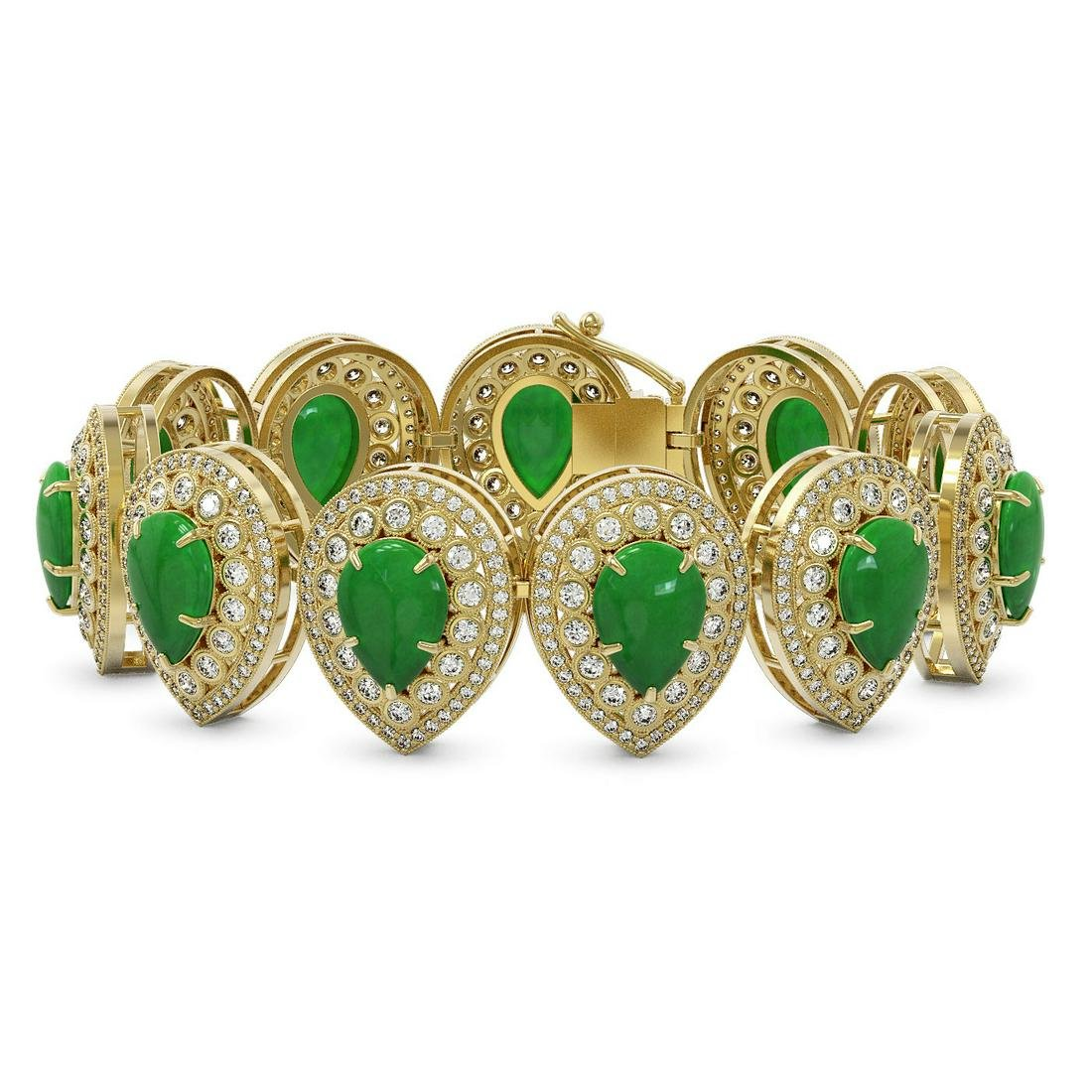 46.44 ctw Jade & Diamond Bracelet 14K Yellow Gold -