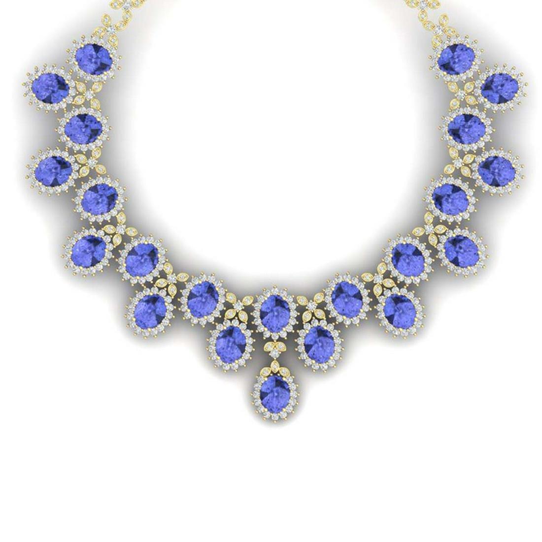 86 ctw Tanzanite & VS Diamond Necklace 18K Yellow Gold