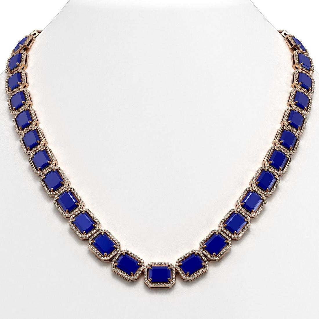 84.94 ctw Sapphire & Diamond Halo Necklace 10K Rose