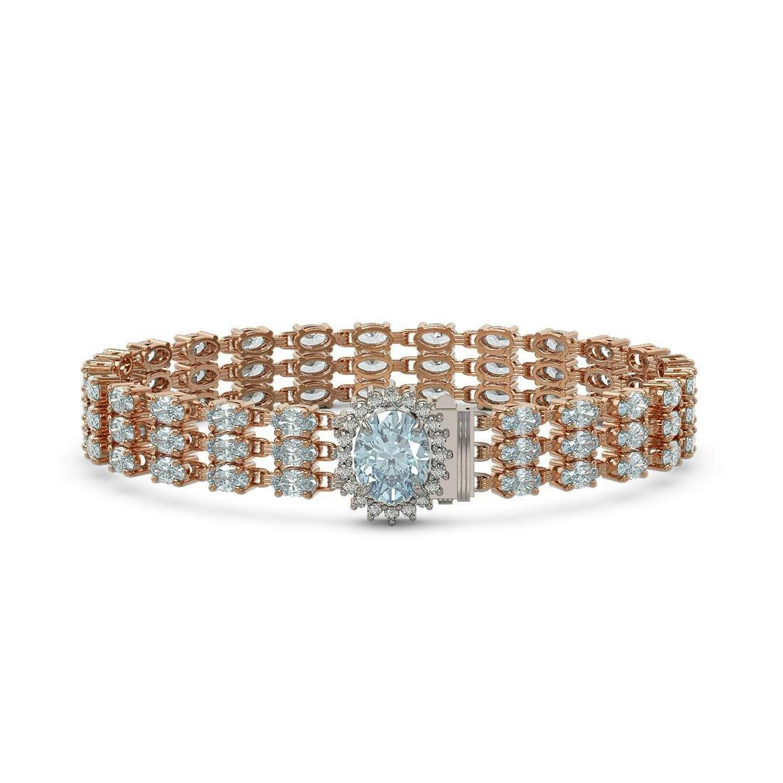 22.17 ctw Aquamarine & Diamond Bracelet 14K Rose Gold -