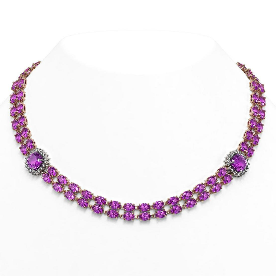 64.81 ctw Amethyst & Diamond Necklace 14K Rose Gold -