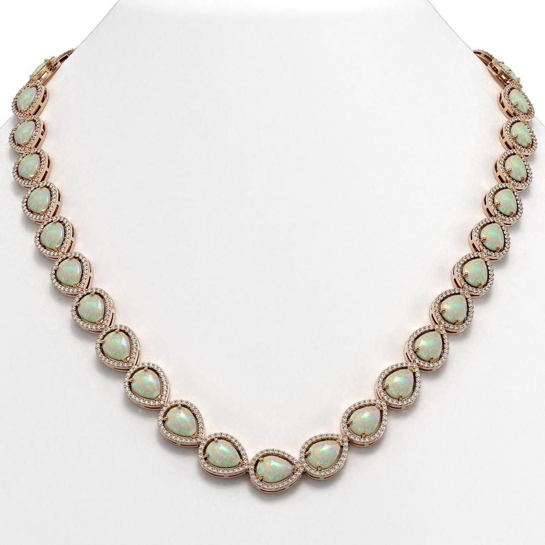 36.48 ctw Opal & Diamond Halo Necklace Rose 10K Rose