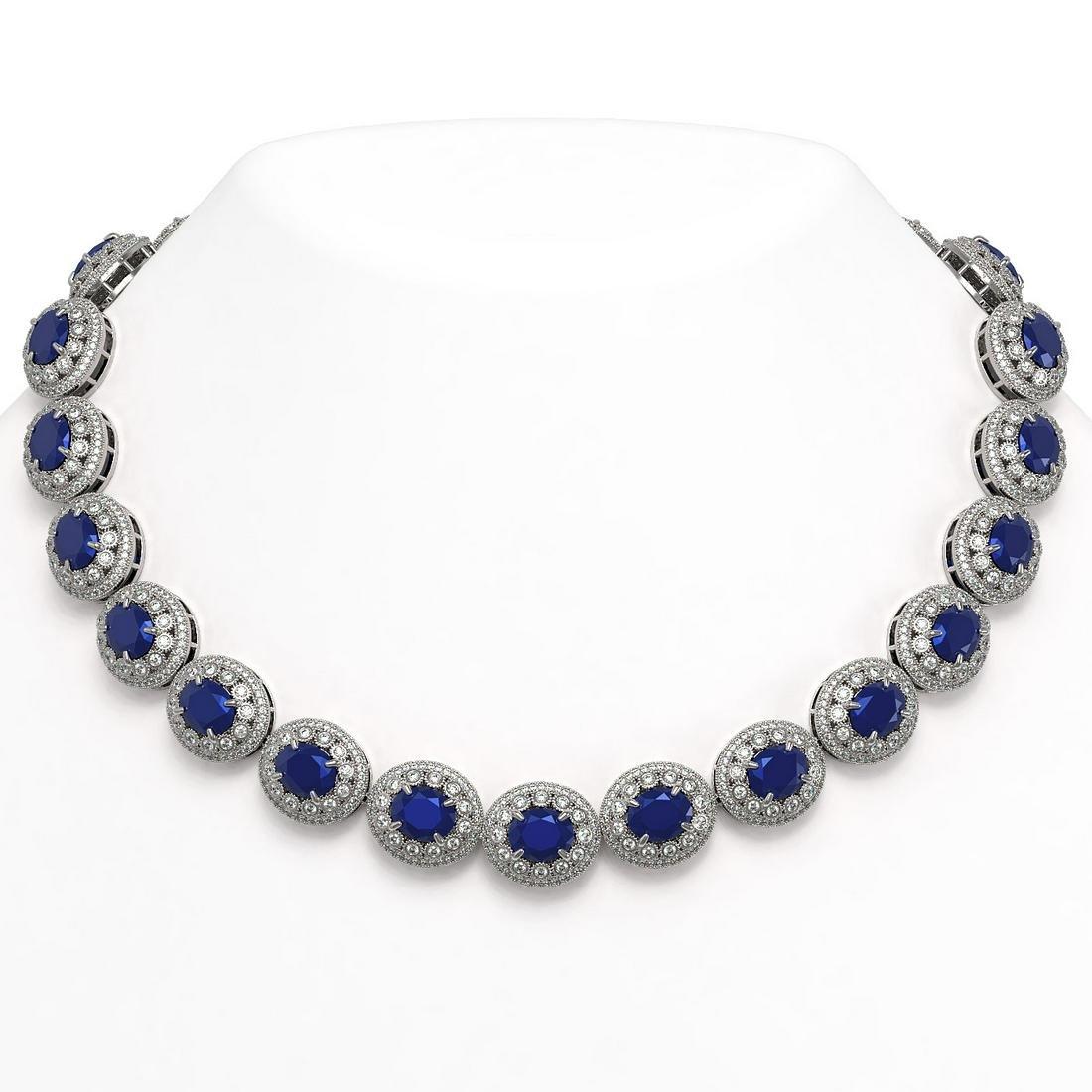 111.75 ctw Sapphire & Diamond Necklace 14K White Gold -