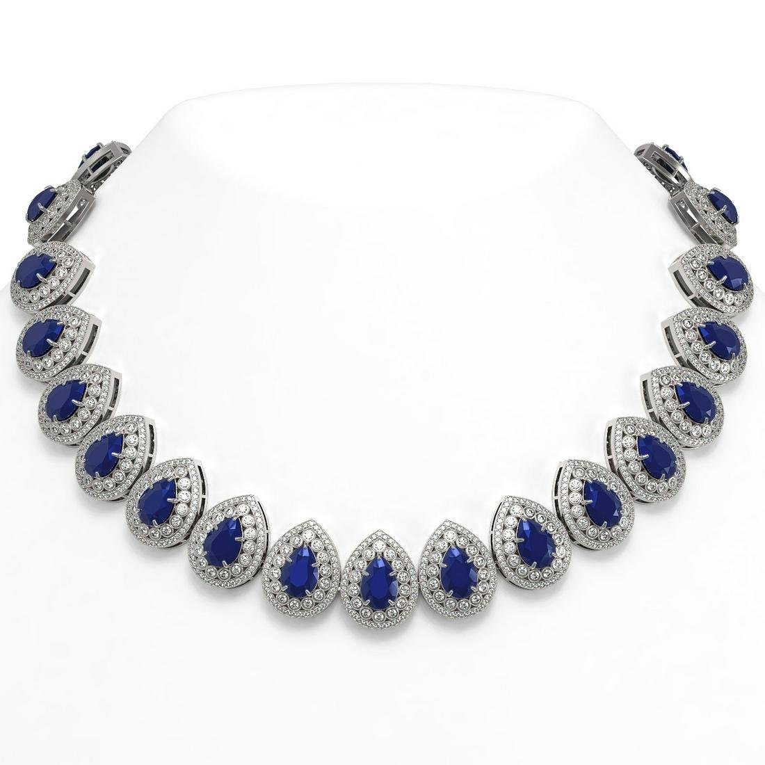 121.42 ctw Sapphire & Diamond Necklace 14K White Gold -